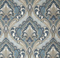 Fabric by the Yard - Indoor Outdoor - Grovedale Sky - Blue Tan White Paisley by PillowsCushionsOhMy on Etsy, $11.96