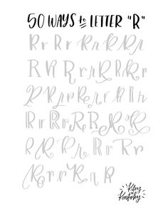 Handlettering R - 50 possibilities for a book . Handlettering R – 50 options for one letter Hand Lettering Fonts, Doodle Lettering, Creative Lettering, Lettering Tutorial, Handwriting Fonts, Brush Lettering, Penmanship, Lettering Ideas, Hand Lettering