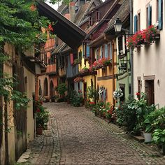 Lovely alley of Alsace village, France