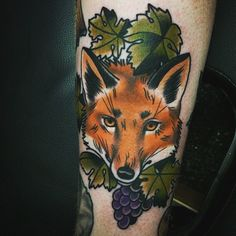 Fox tattoo Done by Chris Shockley at Empire Tattoo Clementon, NJ  Traditional tattoo