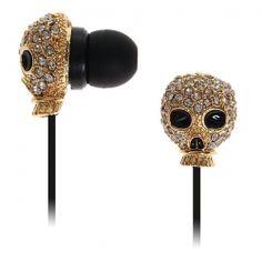 Trendy 3.5mm Diamond-studded Gas Mask Stereo In-ear MP3/MP4 Earphone (Golden)