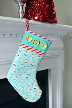 Quilted Stocking from Swirly Girls Designs