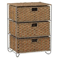 Household Essentials Seagrass and Rattan 3-Drawer Storage Unit : Target