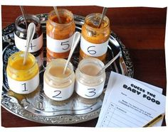 Guess the baby food. such a fun thing to do for the baby shower :)