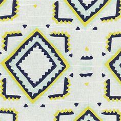 Baroda Square Calypso Blue Geometric Aztec Cotton Drapery Fabric, by Swavelle Mill Creek