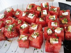 Hollowed out watermelon, feta cheese, balsamic vinegar and mint; a refreshing four-ingredient bite-sized treat for a summer party.
