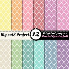 Digital Paper Quaterfoil geometric shape PASTEL  by Mycuteproject