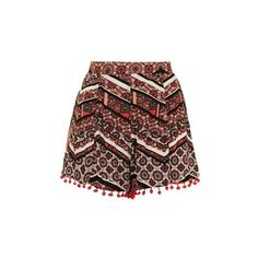Pom Pom Detail Hem Crop Shorts by Glamorous ($31) ❤ liked on Polyvore featuring shorts, coral, topshop, topshop shorts, tribal print shorts, crop shorts and pompom shorts