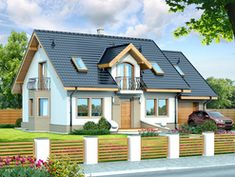 This four bedroom classic house design is an interesting proposition for people with medium-wide plot. The house has a typical shape, which greatly facilitates the construction process. Country House Plans, Small House Plans, House Construction Plan, Modern Bungalow House, Classic House Design, Storey Homes, Concept Home, Design Case, Home Fashion