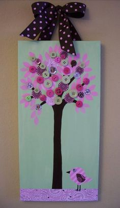 SALE  pink and green button tree painting by addilyneli on Etsy