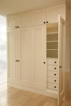 Linear closet... Cute little look like built in...