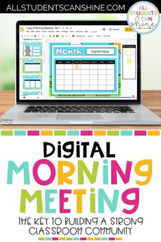 Morning Meeting is the key to building a strong classroom community, even when distance learning. This digital morning meeting resource is a great way to start the day in primary classrooms while distance learning. #firstgrade #secondgrade #kindergarten
