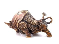 Brass Crafted Furious Charging Bull Coins Armored Body Ru-Yi Tail Feng-Shui