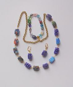 Blue Millefiori Bead Ensemble- Wire Wrapped, hand knotted  | BEADEDNECKLACESHOPPE - Jewelry on ArtFire