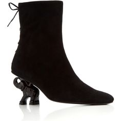 Dorateymur Suede Elephant Boot (2,030 ILS) ❤ liked on Polyvore featuring shoes, boots, black, black laced shoes, black suede boots, laced up boots, black suede shoes and laced boots