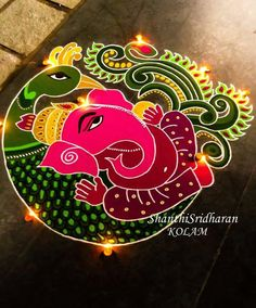 Find and explore top collection of ganesh rangoli designs images. Simple and latest rangoli designs for Ganesh Chathurthi. Rangoli Designs Peacock, Best Rangoli Design, Rangoli Designs Latest, Simple Rangoli Designs Images, Free Hand Rangoli Design, Small Rangoli Design, Rangoli Patterns, Rangoli Ideas, Rangoli Designs Diwali