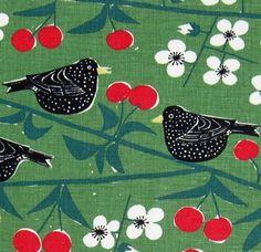 scandinavian fabric Cherry Orchard Almedahls 50s vtg Marianne Westman DIY pillow | eBay