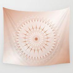 Beautiful Mandala Medallion In Rosegold Mild Colours Mixed With Rectengular Shapes