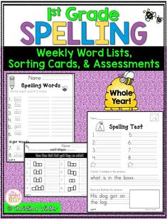 This first grade spelling program has word lists and assessments for the entire year. For each spelling/phonics pattern there is a fun worksheet that are perfect for your students to use in literacy centers, for morning work, or homework. #spellingwords #spellingassessment #firstgrade
