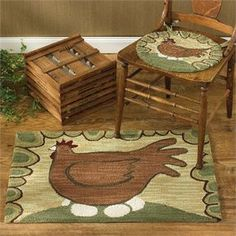 Hen & Eggs Chair Pads and Rug Set - 3 pcs