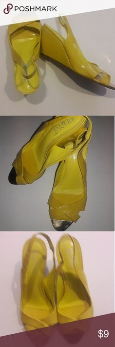 Yellow Sandals Size 7 M Franco Sarto Wedges In good preowned condition....hot yellow leather with sassy relective silver tips for breaking out the Spring season...timeless styling for the wedding, the cruise, the luncheon, wherever... Franco Sarto Shoes Sandals