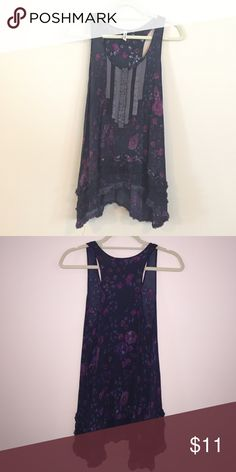 Trying to make a little cash! Free People: Indigo tank with purple flowers and ruffles at the bottom. Free People Tops Tunics