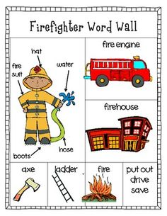 Free downloadable firefighter word wall activity for kids just in time for Fire Safety week