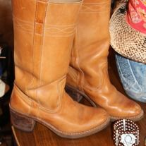 Authentic Romanian custom crafted 70's Hippie Chic style genuine leather tan boots! Vintage, lovingly worn in, soles show wear but because of artisan premium craftsmanship, have many years of life left. So cool, ready to rock your favorite Boho dress or sexy worn in jeans! You won't find this kin...