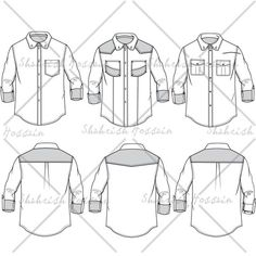 Men's Button Down Shirt Fashion Flat Template $ 1.99