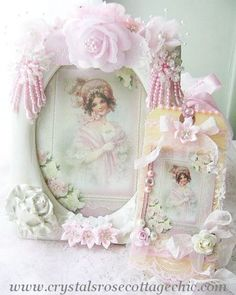 La Belle Victorian Girl in Pink and Ivory Pearl Frame