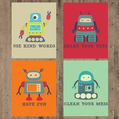 Kids Wall Decor- Playroom Prints- Playroom Rules- Robot Prints- Set of 4 Prints- Nursery Decor- 4 8x10 or 11x14 -Children's Room Prints