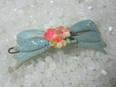 vintage   hair barrette soft yellow bow with posies. $14.50, via Etsy.