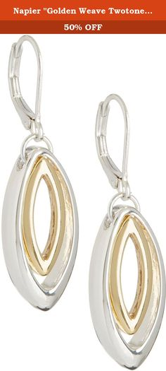 "Napier ""Golden Weave Twotone"" Two-Tone Leverback Drop Earrings. A simply elegant way to dress up your look by Napier! These earrings feature suspended marquise inspired shapes & lever back closures. Earrings are 1.75 in. in length."