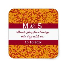 Red #Monogram Thank You #Wedding Favors Square Stickers