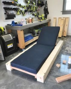 """Working on some outdoor projects this week  How-to video and free plans for this beefy lounger…"""""""