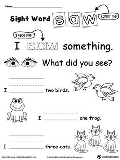 Practice recognizing the sight word SAW with My Teaching Station Learning Sight Words printable worksheet. Your child will practice recognizing the letters that make up the sight word by tracing, writing and finally reading it in a sentence. Sight Word Worksheets, Sight Word Activities, Learning Sight Words, Sight Word Practice, Sight Word Games, Phonics Worksheets, School Worksheets, Reading Activities, Kindergarten Worksheets