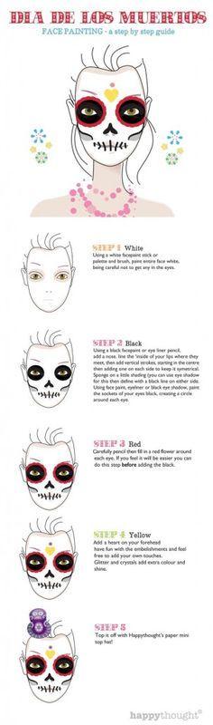Skull face paint tutorial steps: Calavera sugar skull idea!