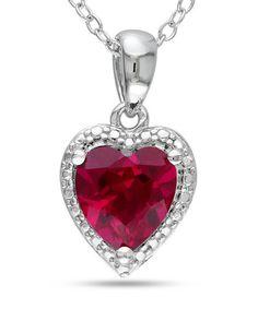 Ruby & Silver Framed Heart Pendant Necklace #zulily #zulilyfinds