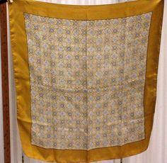 Liberty of London England Early tag Brown Gold Tan Geometric Silk Scarf #LibertyofLondon