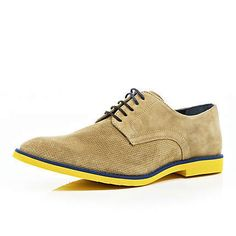 Contrast yellow sole suede shoes