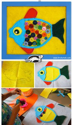 BUTTON FISH craft for kids! #animalcraft #kidscraft #preschool
