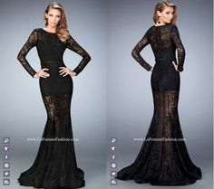 La Femme Prom style - 22443 long prom dress - black prom dress - formal dress - belted dress - lace