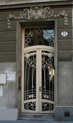 Art Nouveau door , Vienna , Austria