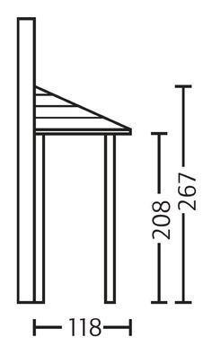 Holz-Vordach SKANHOLZ Wismar für Doppeltüren Haustür-Walmdach Grundriss Seitenansicht