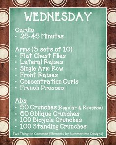 Wednesday workout plan