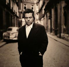 A rare shot of Orson Welles, in Paris, 1952 by Fred Brommet (1924-2008)