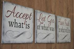 Inspirational Sign Accept What Is Let Go Of What Was Have Faith In What Will Be Wood Sign Inspirational Wall Decor Distressed Wood Handmade - 2019 Diy Wood Signs, Pallet Signs, Vintage Wood Signs, Family Wood Signs, Family Rules, Wood Wall Decor, Diy Wall, Vinyl Decor, Room Decor