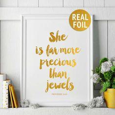 "Real Gold Foil Christian Print, ""She is far more precious than jewels"" Proverbs 31:10, Bible Verse Print, Girls Nursery Decor, Scripture Art"