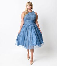 1d3a877ed700 Iconic by UV Plus Size Blue Halter Roosevelt Swing Dress Plus Size Dresses
