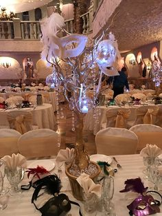 New Party Themes Sweet 16 Masquerade Ball Center Pieces 52 Ideas Masquerade Party Centerpieces, Masquerade Ball Decorations, Masquerade Ball Party, Sweet 16 Masquerade, Feather Centerpieces, Masquerade Wedding, Masquerade Theme, Wedding Centerpieces, Balloon Centerpieces